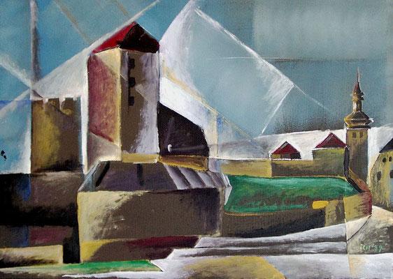 Burg Querfurt, 1999, 70 x 50 cm, Öl auf Hartfaser