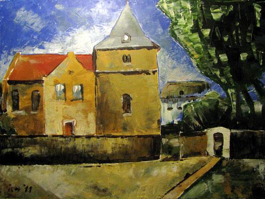 Kirche in Leimbach, 2011, 70 x 50 cm, Acryl auf Leinwand