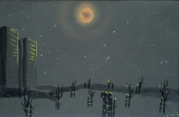 Verabredung im Mondschein, 1997, 30 x 21 cm, Kreide, Tusche auf Karton