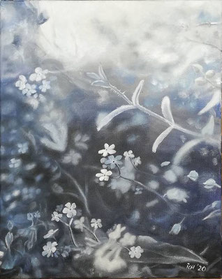 Blüten in blau, 2020, 40 x 50 cm, Öl auf Leinwand