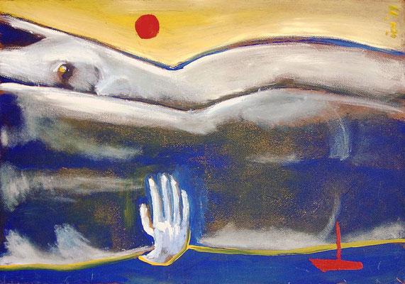 Strand mit Paar, 1999, 68 x 48 cm, Öl auf Hartfaser