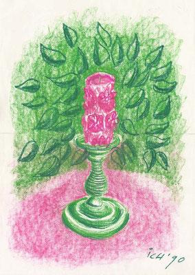 Kerze, 1996, 30 x 42 cm, Kreide auf Papier