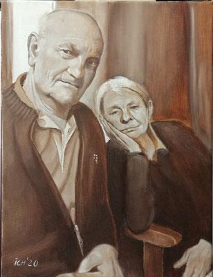 Paar, 2020, 30 x 40 cm, Öl auf Leinwand