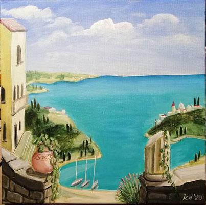 Ich male mir einen Urlaubsort, 2020, 40 x 40 cm, Acryl auf Leinwand
