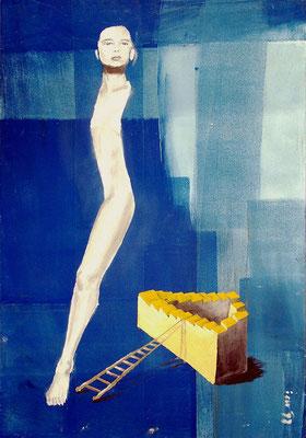 Das Modell, 1998, 48 x 68 cm, Mischtechnik auf Hartfaser