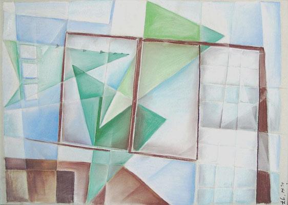Fernwehelemente am Fenster, 1997, 100 x 70 cm, Kreide auf Karton