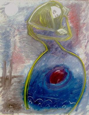 Mondphasen-Sehnsucht, 1998, 72 x 96 cm, Öl auf Druckplatte