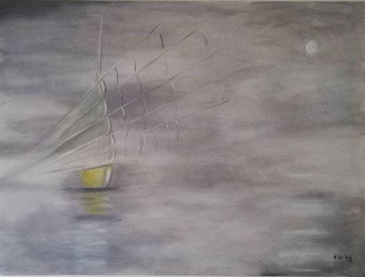 Dschunke, 2018, 140 x 100 cm, Öl auf Leinwand