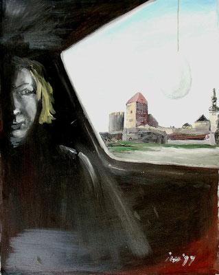 Überlagerung des Visuellen durch den Geist, 1999, 54 x 72 cm, Öl auf Druckplatte