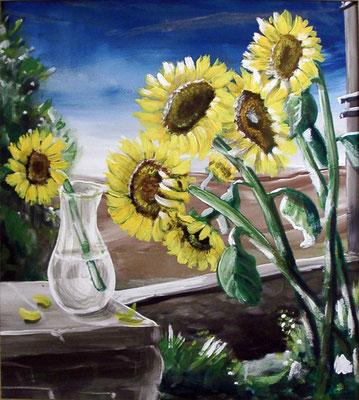 Sonnenblumen mit Glasvase, 2004, 72 x 64, Acryl auf Hartfaser
