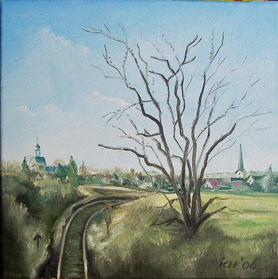 Obhausen, 2006, 30 x 30 cm, Öl auf Leinwand
