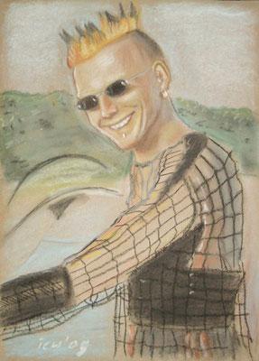 Portrait, 2005, 30 x 42 cm,  Kreide, Kohle auf Karton