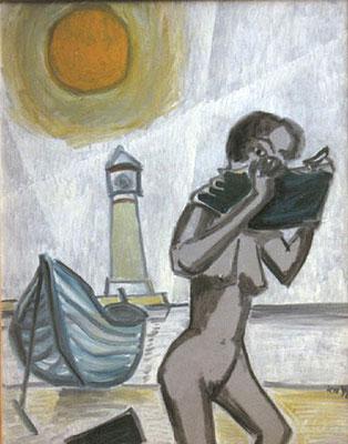 Am Strand, 1998, 54 x 72 cm, Öl auf Druckplatte