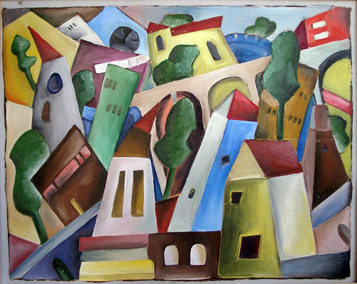 Stadtsalat, 2000, 70 x 50 cm, Öl auf Druckplatte