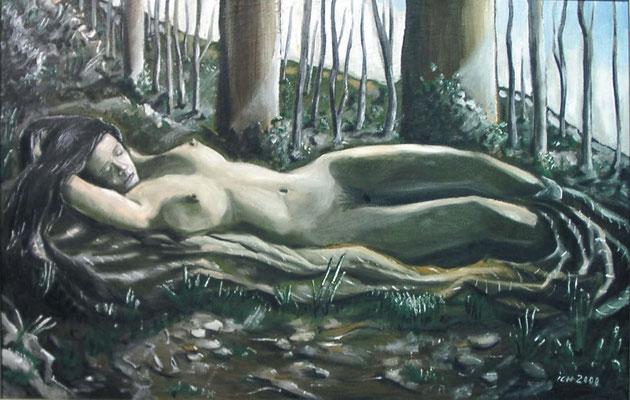 Schlummernde, 2000, 110 x 70 cm, Öl auf Leinwand