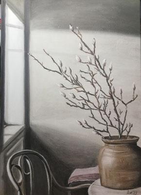 Stilleben mit Zweigen, 2019, 50 x 70 cm, Öl auf Leinwand
