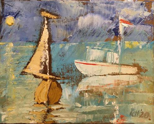 Boote, 2020, 32 x 38 cm, Öl auf Pappe