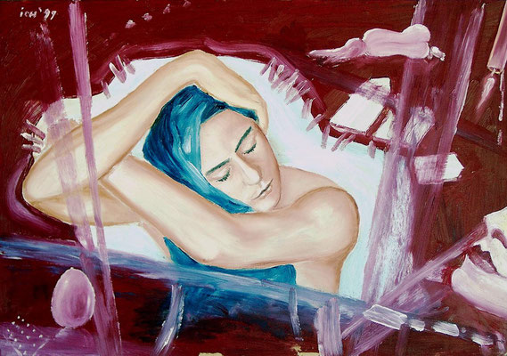 Weiblicher Traum, 1999, 68 x 48 cm, Öl auf Hartfaser