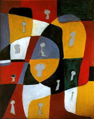 Der Voyeur, 1998, 54 x72 cm, Öl auf Druckplatte