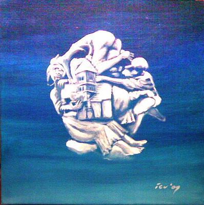 am Hallmarktbrunnen, 2009, 50 x 50 cm, Öl auf Leinwand