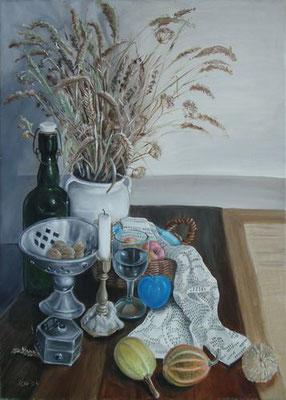 das Problem der Integration am Beispiel eines blauen Apfels, 2004,  70 x 50 cm, Öl auf Leinwand