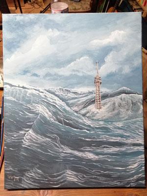 by the sea, 2021, 40 x 50 cm, Öl auf Leinwand