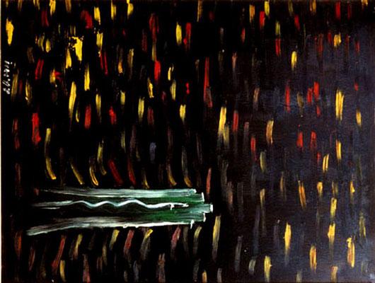 Der Quertreiber, 1997, 72 x 54 cm, Öl auf Druckplatte