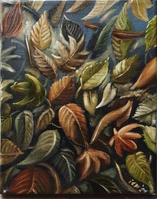 Herbstteppich, 24x30 cm, 2021, Öl auf Leinwand