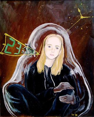Zerstörung des Traumes durch die Zeit, 1998, 54 x 76 cm, Öl auf Druckplatte