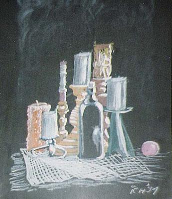 Kerzen, 1991, 30 x 42 cm, Kreide auf Karton