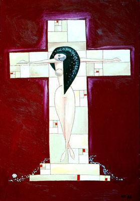 Der weibliche Jesus, 1998, 48 x 68 cm, Öl auf Hartfaser
