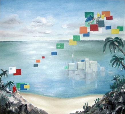 Verbindung, 1998, 68 x 64 cm, Öl auf Hartfaserplatte