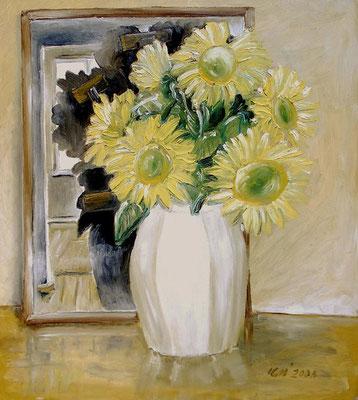 Sonnenblumen, nicht das, was sie scheinen, 2000, 64 x 72 cm, Öl auf Hartfaser