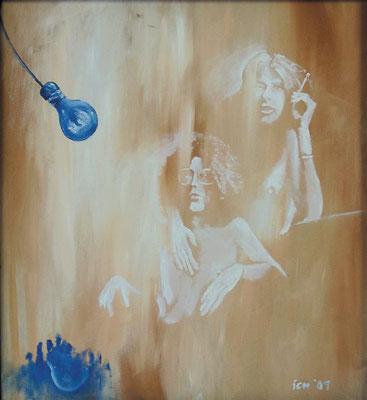 revolutionäre Spiegelung, 2001, 62x74 cm, Mischtechnik auf Hartfaserplatte