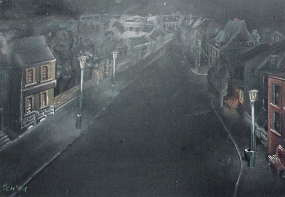 Strasse bei Nacht, 1991, 42 x 30 cm, Kreide auf Karton