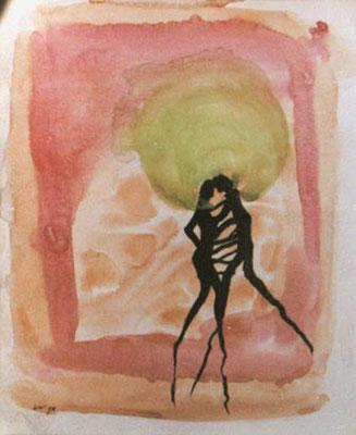 verwurzeltes Paar, 1998, 20 x 25 cm, Tusche, Wasserfarbe auf Karton