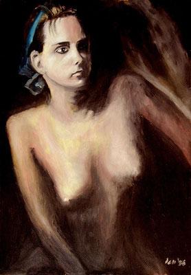 Lichtfrau, 1998, 48 x 68 cm, Öl auf Hartfaser