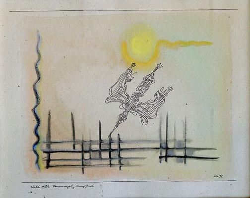 Wald mit Feuervogel, dampfend, 1997, 42 x 30 cm, Tusche, Wasserfarbe auf Karton