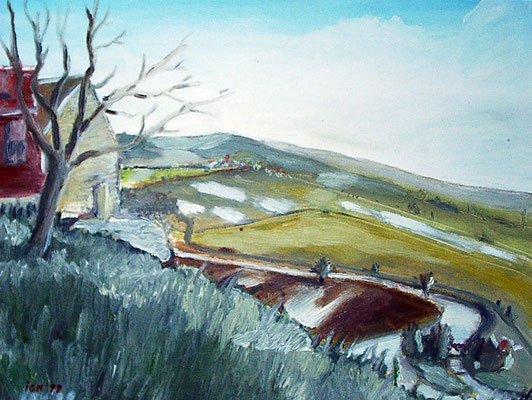 Wendelstein mit Unstrut, 1999, 40 x 30 cm, Öl auf Karton