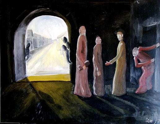 Die Delegation, 1997, 74 x 52 cm, Öl auf Druckplatte