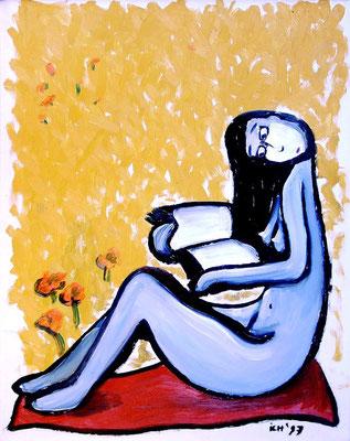 Lesende, vertieft, 1997, 74 x 54 cm, Öl auf Druckplatte
