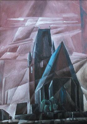 Kirche Osterhausen, 2000, 48 x 68 cm, Öl auf Hartfaserplatte