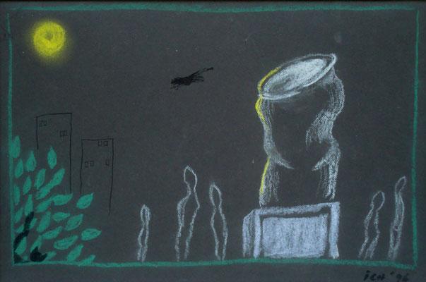 Anbetung, 1996, 30 x 21 cm, Kreide, Tusche auf Karton