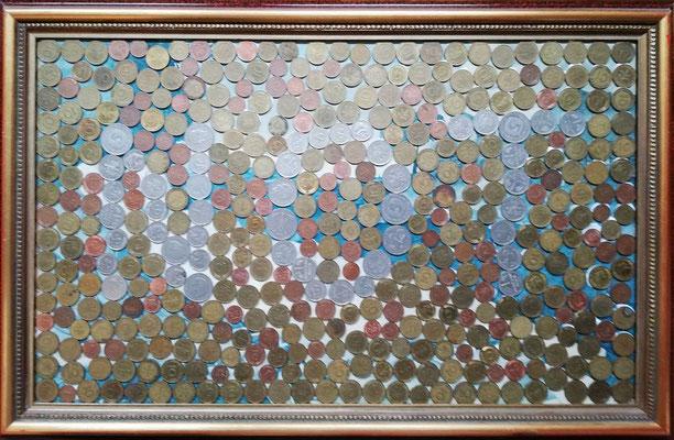 Geld-NOT, 2020, 55 x 33 cm, Münzen auf Kunstdruck