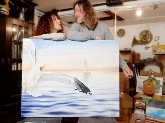 Die Möwe. (Das erste Gemeinschaftsprojekt mit meiner Cousine) 2019. 80 x 60 cm, Öl auf Leinwand