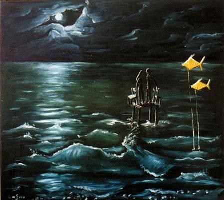 Lösbarer Streit mit Mond, Fische als Zeugen, 2000, 74 x 62 cm. Öl auf Hartfaser