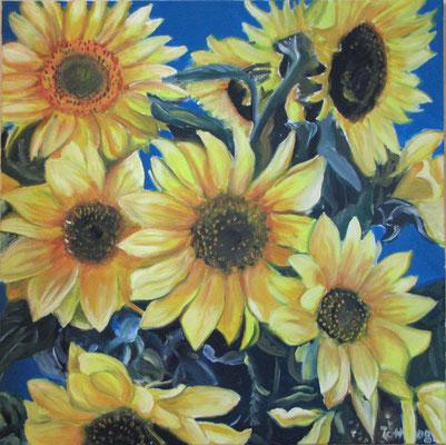 Sonnenblumen, 2008, 80 x 80 cm, Öl auf Leinwand