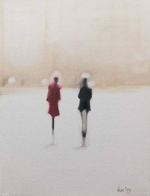 Paar in der Stadt, 2019, 30 x 40 cm, Öl auf Leinwand