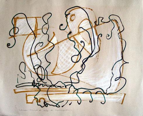 Technischer Fortschritt als Stütze der Begrünungsoffensive, 1997, 100 x 70 cm, Öl auf Karton