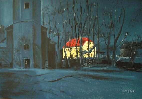 Pfarrhaus, 2003, 68 x 48 cm, Öl auf Hartfaser